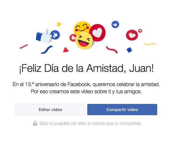 día de la amistad en Facebook