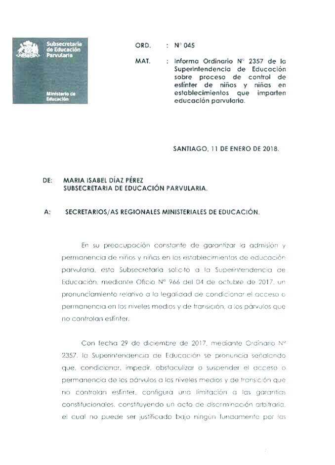 Ordinario 045 Subsecretaría de educacion acerca del control de esfínter